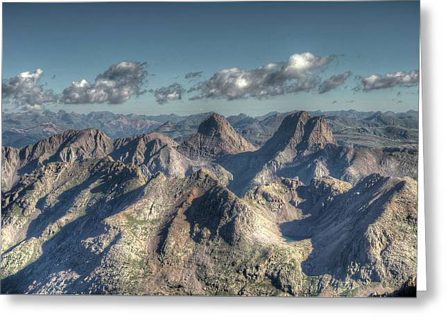 Greeting Card featuring the photograph Grenadier Mountains by Aaron Spong
