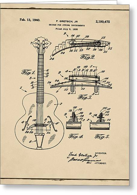 Gretsch Guitar Bridge Patent 1940 Sepia Greeting Card by Bill Cannon