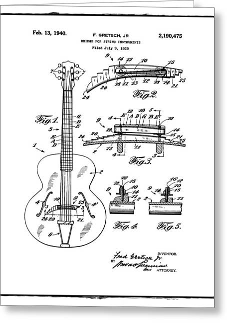 Gretsch Guitar Bridge Patent 1940 White Greeting Card by Bill Cannon