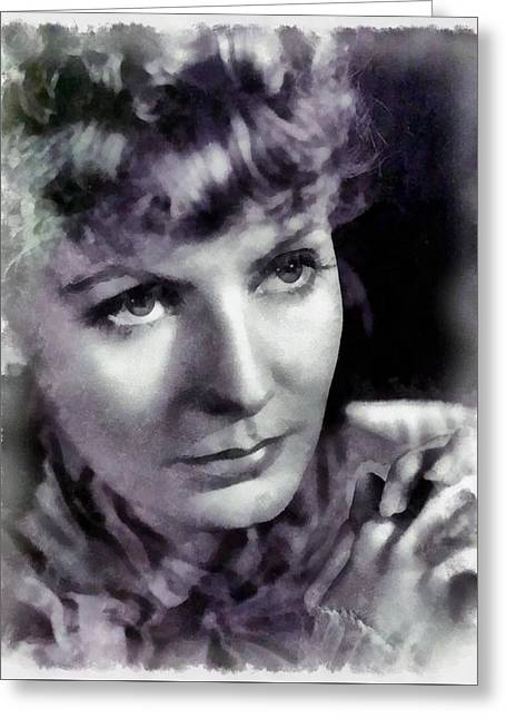 Greta Garbo By John Springfield Greeting Card by John Springfield