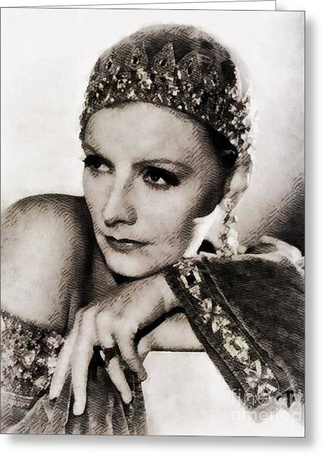 Greta Garbo, Vintage Actress Greeting Card by John Springfield