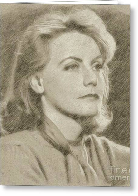 Greta Garbo Vintage Hollywood Actress Greeting Card by Frank Falcon