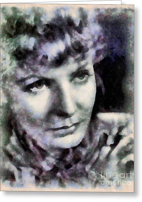 Greta Garbo Vintage Hollywood Actress Greeting Card by Sarah Kirk