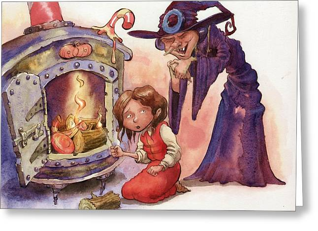 Gretel And Witch Greeting Card