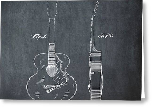 Gretsch Guitar 1941 Patent In Chalk Greeting Card by Bill Cannon