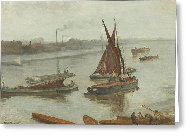 Grey And Silver Old Battersea Reach Greeting Card by James Abbot McNeill Whistler