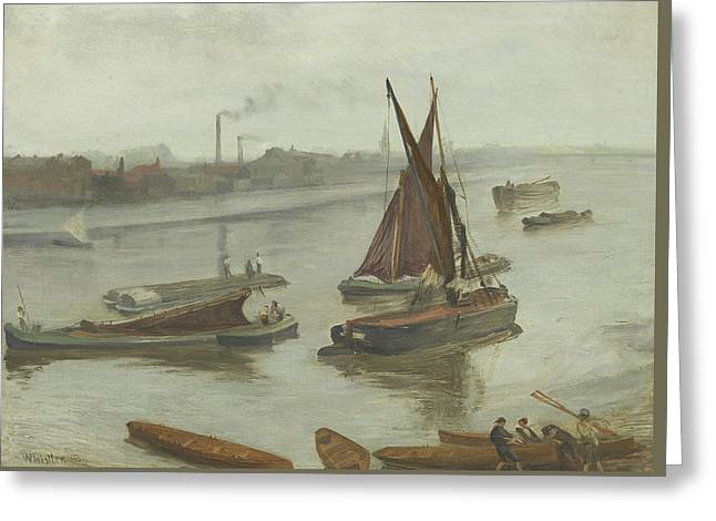 Grey And Silver Old Battersea Reach Greeting Card by James Abbott McNeill Whistler