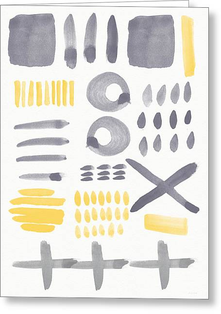 Grey And Yellow Shapes- Abstract Painting Greeting Card by Linda Woods