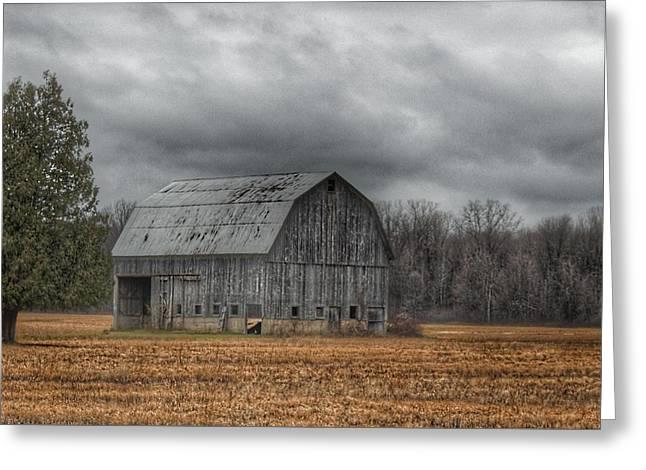 0024 - Grey Barn And Tree Greeting Card