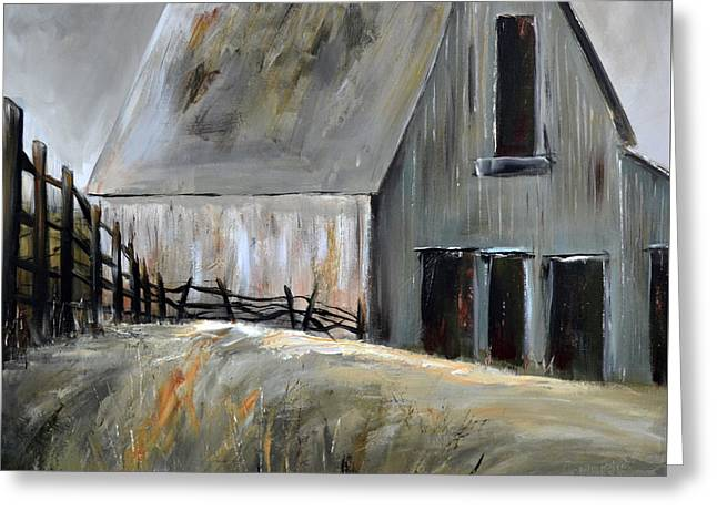 Greeting Card featuring the painting Grey Barn by Cher Devereaux