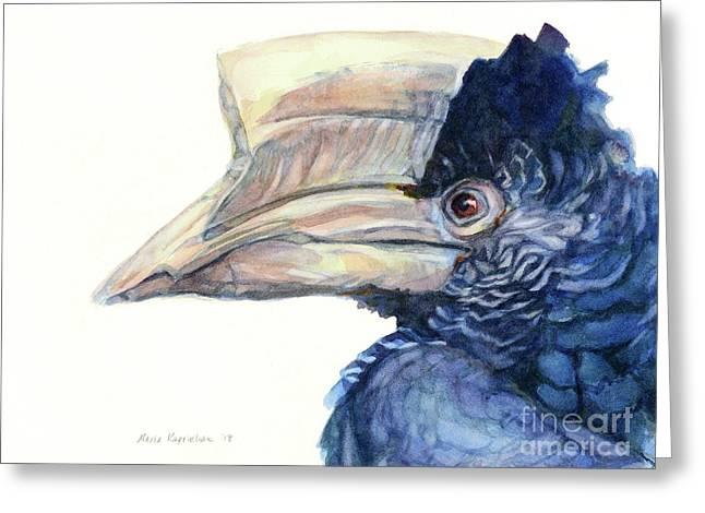 Grey-cheeked Hornbill Greeting Card by Maria Kaprielian