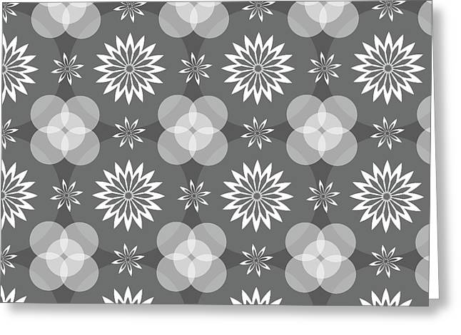 Grey Circles And Flowers Pattern Greeting Card
