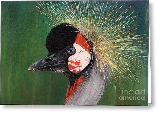 Grey Crowned Crane - Oil On Canvas Greeting Card by Svetlana Ledneva-Schukina