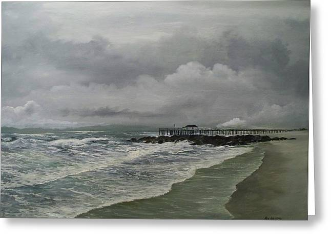 Greeting Card featuring the painting Grey Day At Ocean Grove by Ken Ahlering