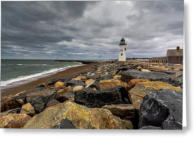 Grey Day At Scituate Lighthouse Greeting Card