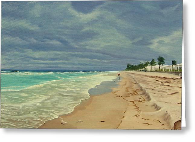 Grey Day On The Beach Greeting Card by Lea Novak