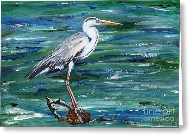 Grey Heron Of Cornwall -painting Greeting Card