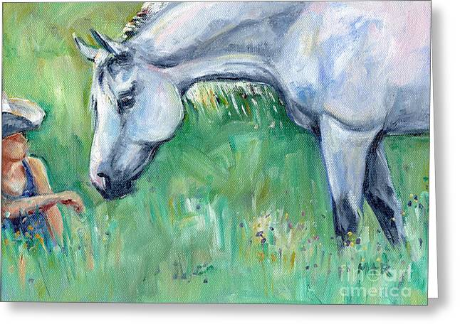 Grey Horse And Cowgirl Greeting Card