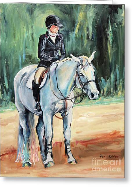 Grey Hunt Seat Horse Greeting Card by Maria's Watercolor