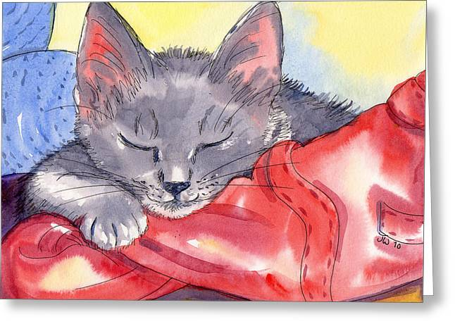 Greeting Card featuring the painting Grey Kitten Asleep On Laundry by June Walker