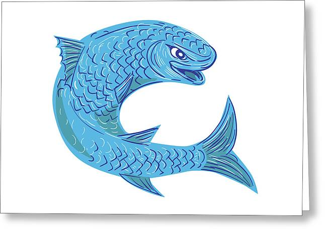 Grey Mullet Jumping Drawing Greeting Card by Aloysius Patrimonio