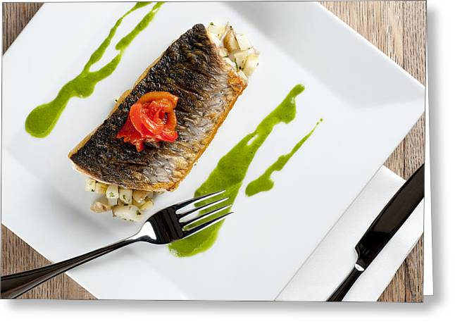 Mullet Greeting Cards - GREY MULLET WITH WATERCRESS SAUCE presented on a square white plate with cutlery and napkin Greeting Card by Andy Smy