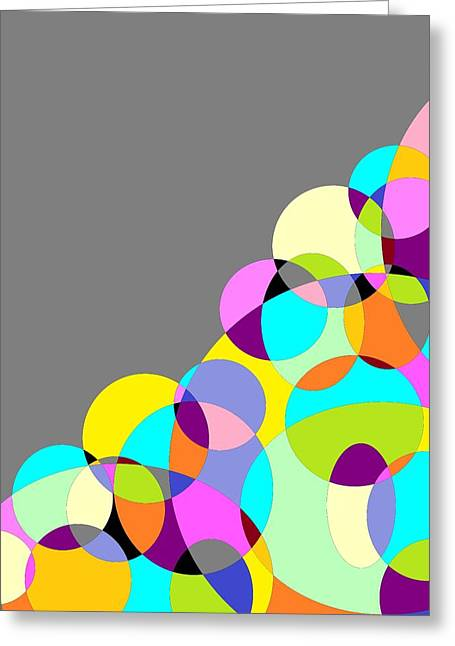 Grey Multicolored Circles Abstract Greeting Card by Marianna Mills