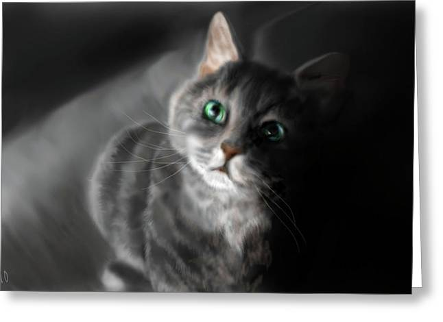 Grey On Gray Greeting Card by Peggy Hickey