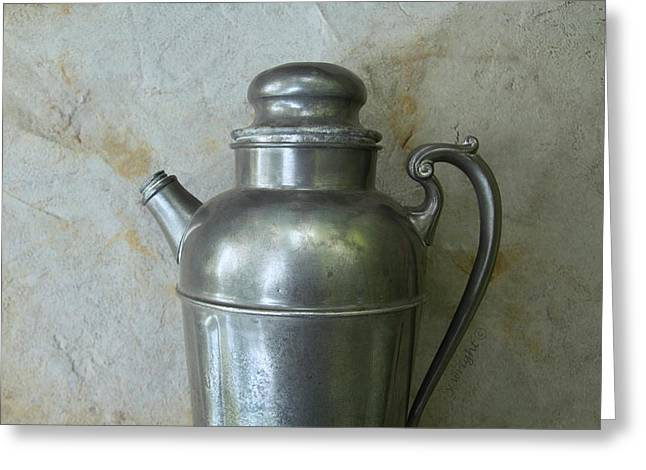 Grey-on-grey Still Life With A Water Jug Greeting Card by Yvonne Wright