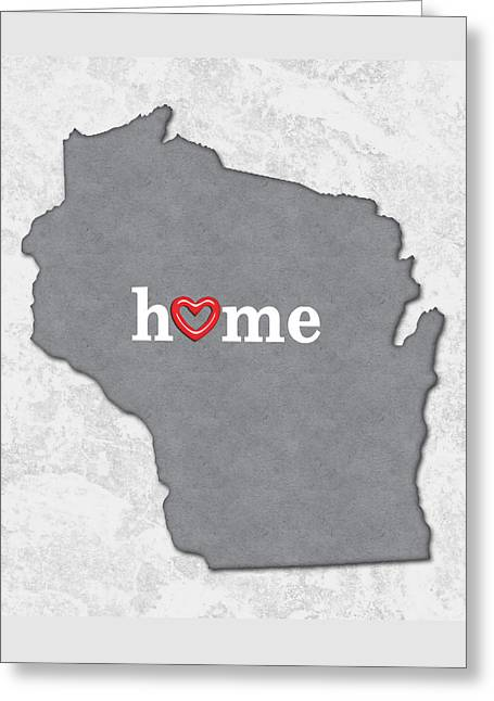 State Map Outline Wisconsin With Heart In Home Greeting Card