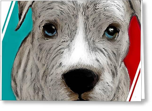 Grey Pit Pup Greeting Card