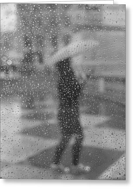 Grey Rain Greeting Card