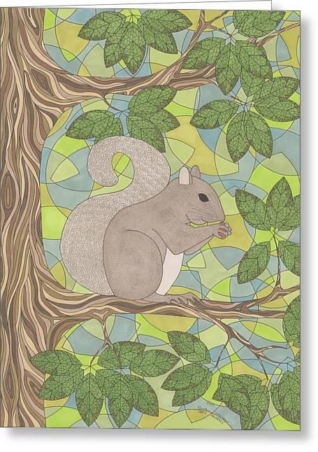 Grey Squirrel Greeting Card by Pamela Schiermeyer