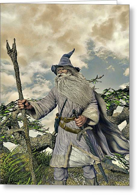 Grey Wizard II Greeting Card by Dave Luebbert