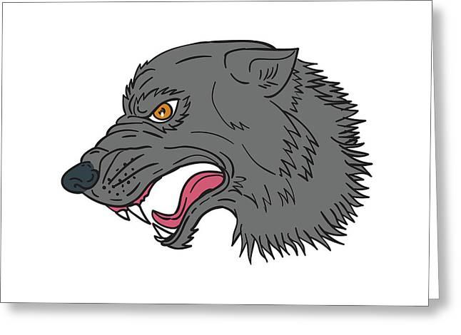 Grey Wolf Head Growling Drawing Greeting Card by Aloysius Patrimonio