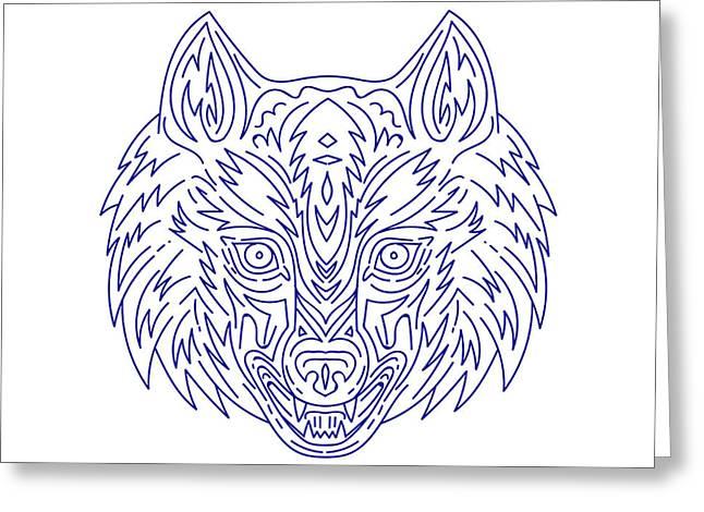 Grey Wolf Head Mono Line Greeting Card by Aloysius Patrimonio
