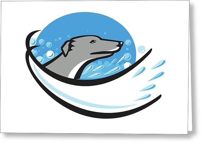 Greyhound Dog Head Water Bubble Oval Retro Greeting Card by Aloysius Patrimonio