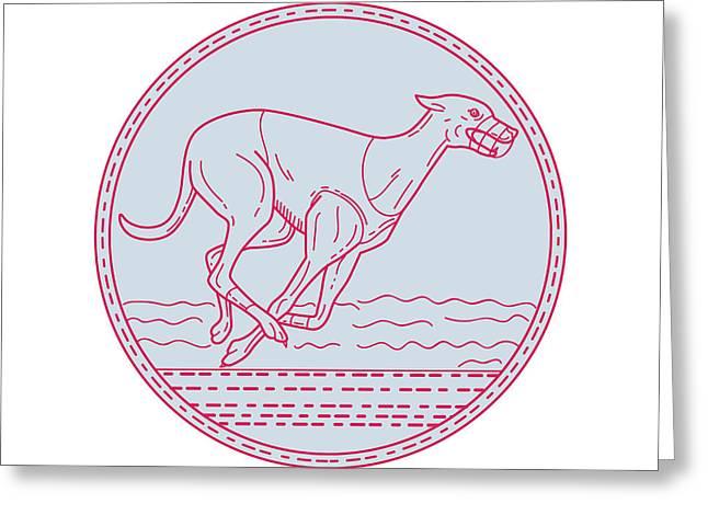 Greyhound Dog Racing Circle Mono Line Greeting Card by Aloysius Patrimonio