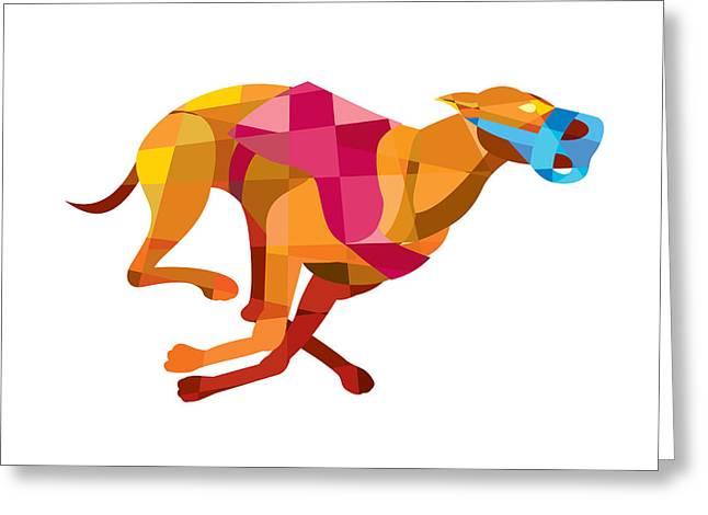 Greyhound Dog Racing Low Polygon Greeting Card by Aloysius Patrimonio