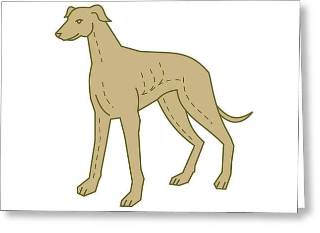Greyhound Dog Standing Mono Line Greeting Card by Aloysius Patrimonio