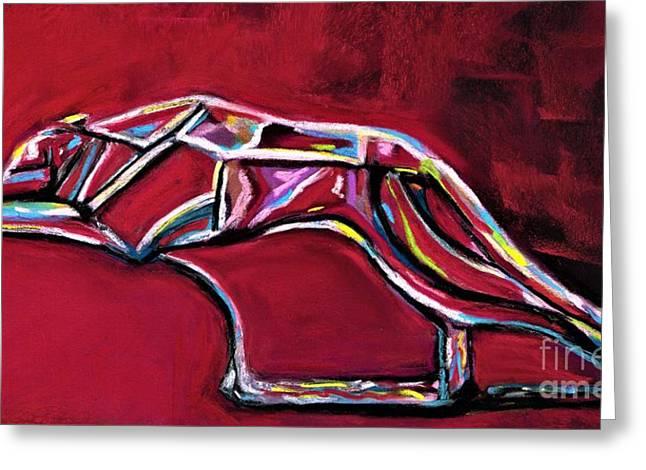 Greyhound Glass Figurine  Greeting Card by Frances Marino