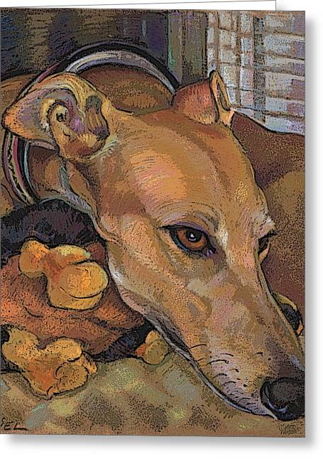 Greyhound Grace Note Card Greeting Card by Jane Oriel
