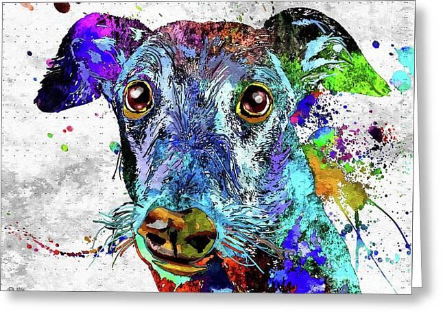 Greyhound Grunge Greeting Card by Daniel Janda