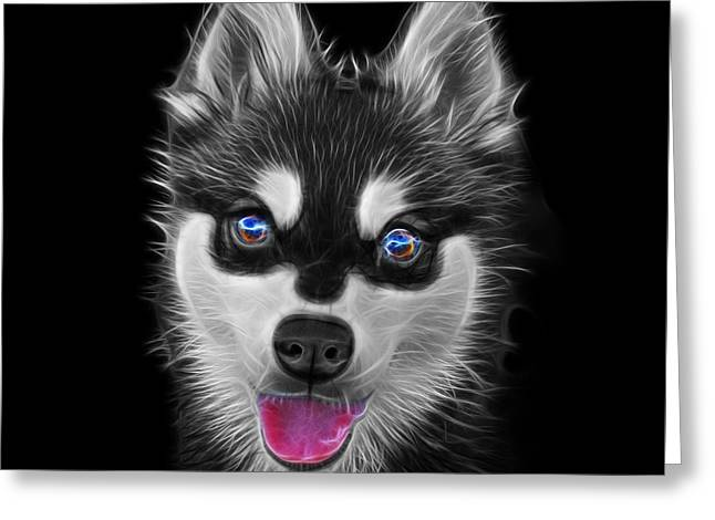 Greyscale Alaskan Klee Kai - 6029 -bb Greeting Card