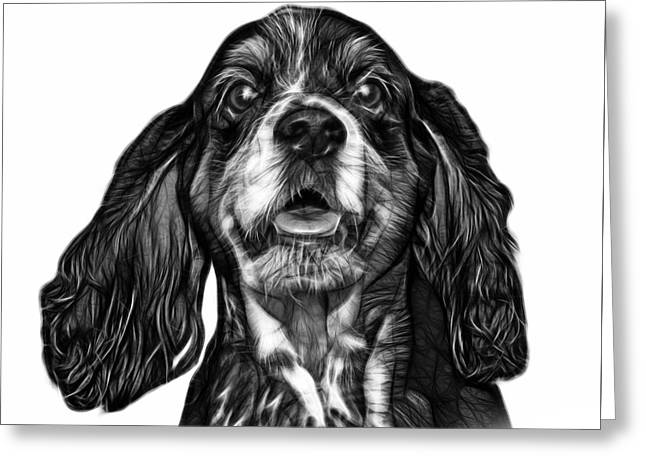Greyscale Cocker Spaniel Pop Art - 8249 - Wb Greeting Card