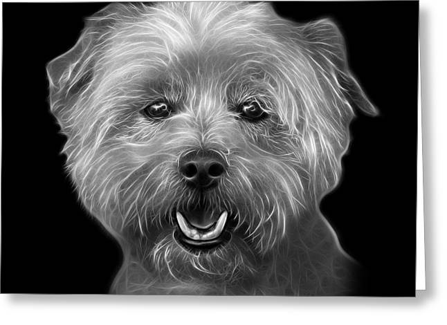 Greyscale West Highland Terrier Mix - 8674 - Bb Greeting Card