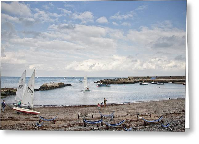 Greystones Harbour With Yachts Greeting Card by Gary Rowe