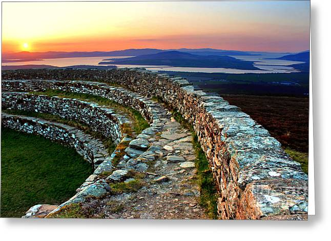 Grianan Fort Sunset Greeting Card