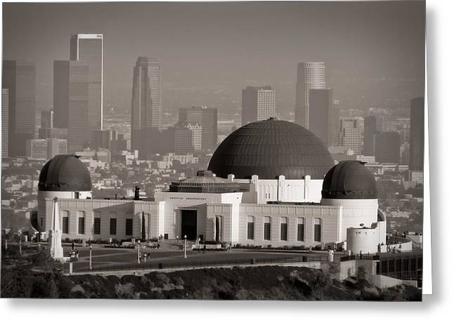 Observatories Greeting Cards - Griffith Observatory Greeting Card by Adam Romanowicz