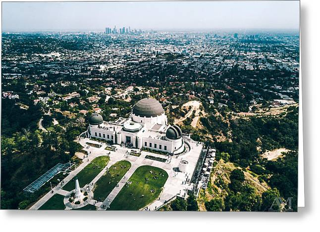 Griffith Observatory And Dtla Greeting Card by Andrew Mason